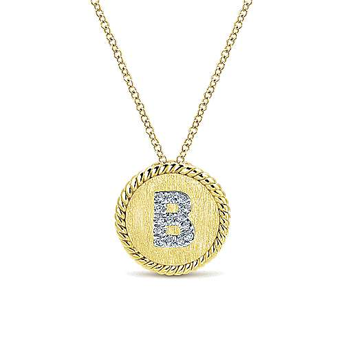 14k Yellow/White Gold Round Uppercase B Diamond Initial Necklace