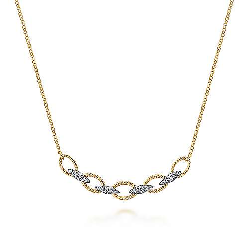 14k Yellow/White Gold Twisted Chain Link Diamond Fashion Necklace