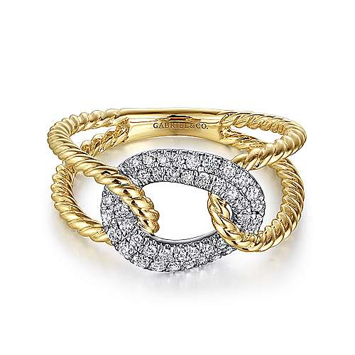 Gabriel - 14k Yellow/White Gold Twisted Chain Link Diamond Ladies Fashion Ring