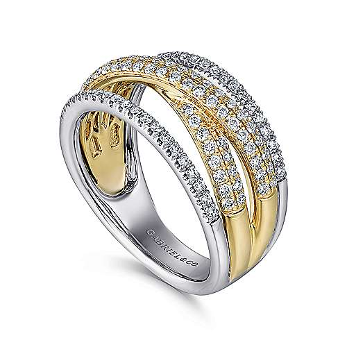 14k Yellow/White Gold Twisted Layered Ladies Fashion Ring