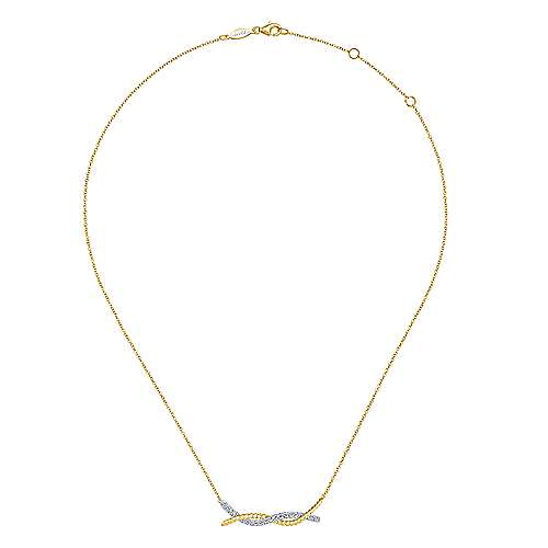 14k Yellow/White Gold Twisted Pave Diamond Bar Necklace
