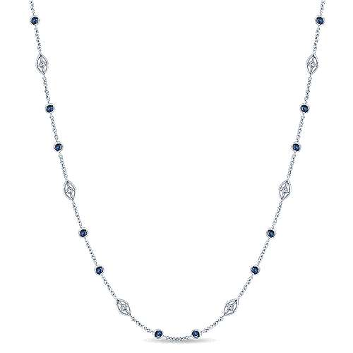 16inch 14K White Gold Diamond & Sapphire Station Necklace angle 1
