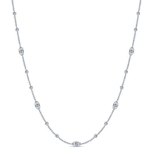 Gabriel - 16inch 14K White Gold Diamond Station Necklace