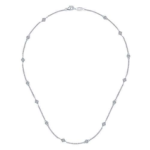 16inch 14K White Gold Diamond Station Necklace angle 2