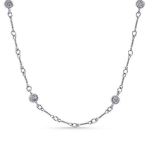 Gabriel - 16inch 14K White Gold Diamond Station Necklace