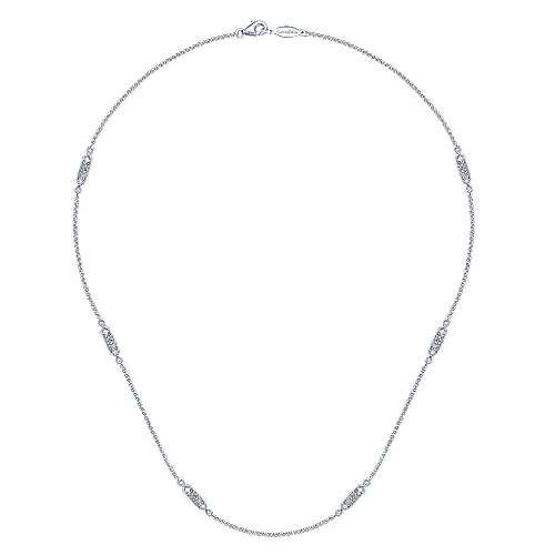 16inch 14K White Gold Diamond Station Necklace angle 2