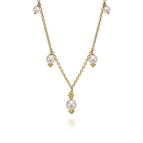 16inch 14K Yellow Gold Cultured Pearl Station Necklace angle 1