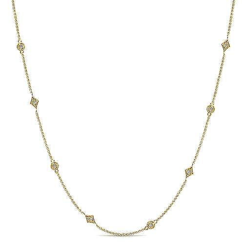 16inch 14K Yellow Gold Diamond Station Necklace angle 1