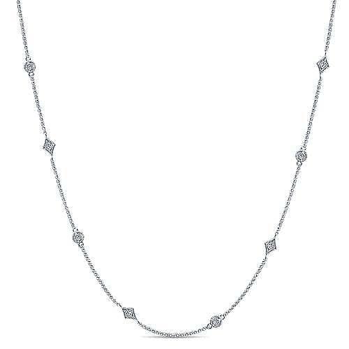 Gabriel - 16inch 14k White Gold Diamond Round & Kite Shaped Station Necklace
