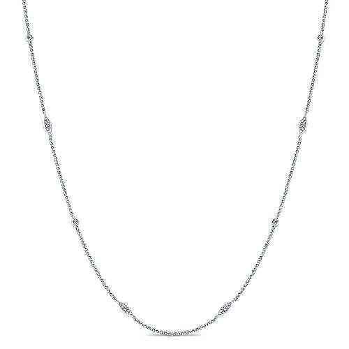 Gabriel - 16inch 14k White Gold Diamond Round & Marquise Station Necklace