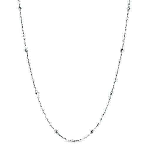 16inch 14k White Gold Diamond Station Necklace