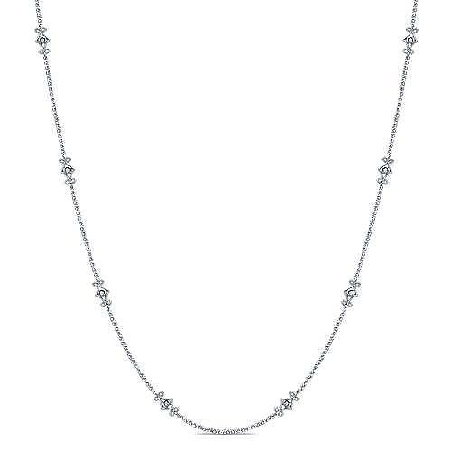 Gabriel - 16inch 14k White Gold Openwork Diamond Station Necklace