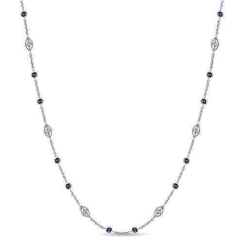 Gabriel - 16inch 14k White Gold Sapphire & Diamond Station Necklace