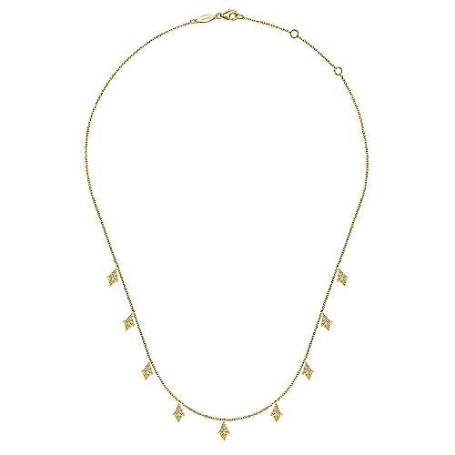 17.5inch 14K Yellow Gold Diamond Station Necklace angle 2