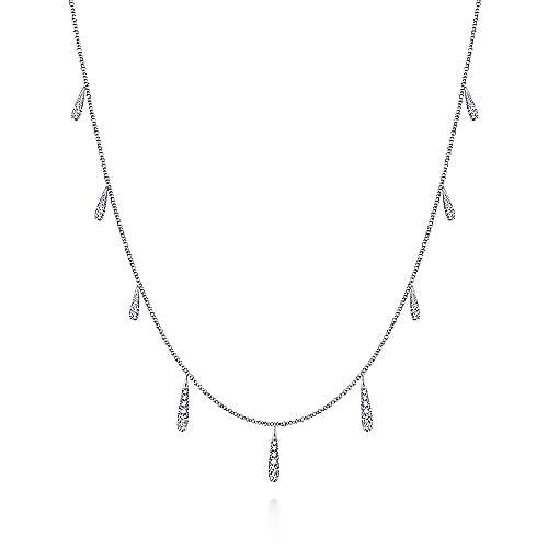 17.5inch 14k White Gold Dangling Diamond Station Necklace