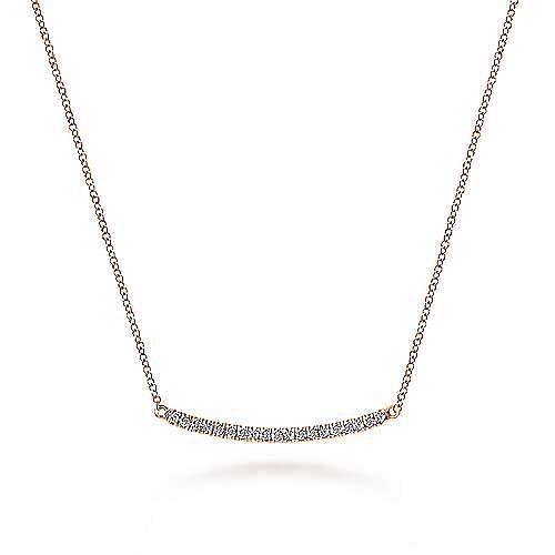 18 inch 14K Rose Gold Diamond Pavé Curved Bar Necklace