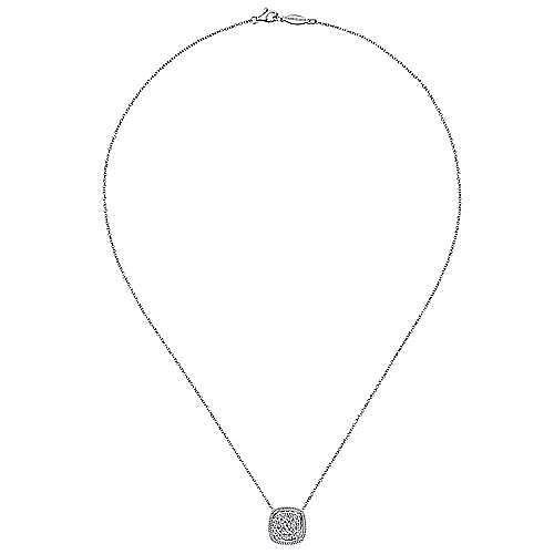 18 inch 14K White Gold Cushion Shape Diamond Pavé Pendant Necklace