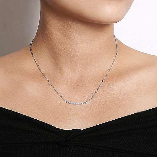18 inch 14K White Gold Diamond Pavé Curved Bar Necklace