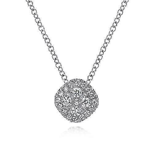 18 inch 14K White Gold Diamond Pavé Cushion Pendant Necklace