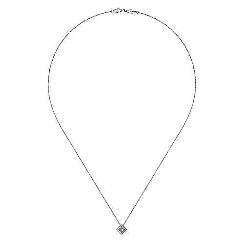 18 inch 14K White Gold Diamond Square Pendant Necklace