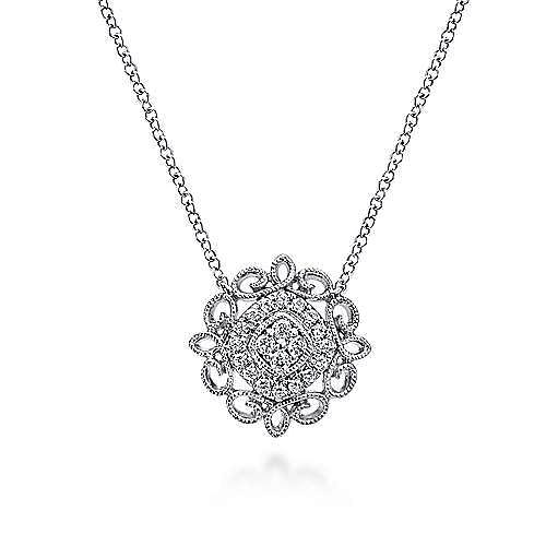 18 inch 14K White Gold Filigree Diamond Pendant Necklace