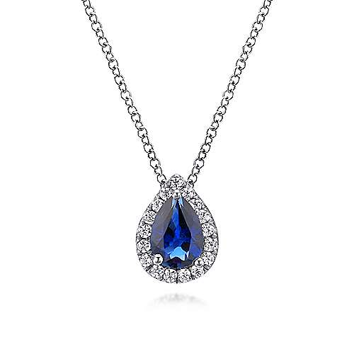 18 inch 14K White Gold Pear Shaped Sapphire and Diamond Halo Pendant Necklace