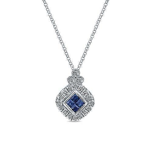 18 inch 14K White Gold Princess Cut Sapphire and Diamond Pendant Necklace
