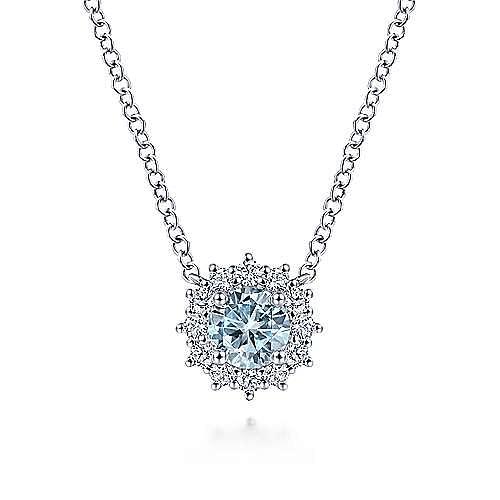 18 inch 14K White Gold Round Aquamarine and Diamond Halo Pendant Necklace