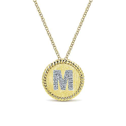 18 inch 14K Yellow White Gold Round  Diamond M Initial Pendant Necklace