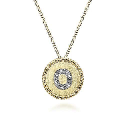18 inch 14K Yellow White Gold Round  Diamond O Initial Pendant Necklace
