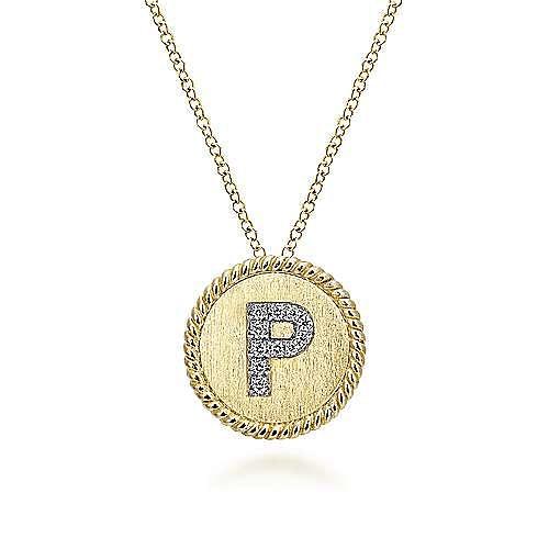 18 inch 14K Yellow White Gold Round  iDiamond P Initial Pendant Necklace