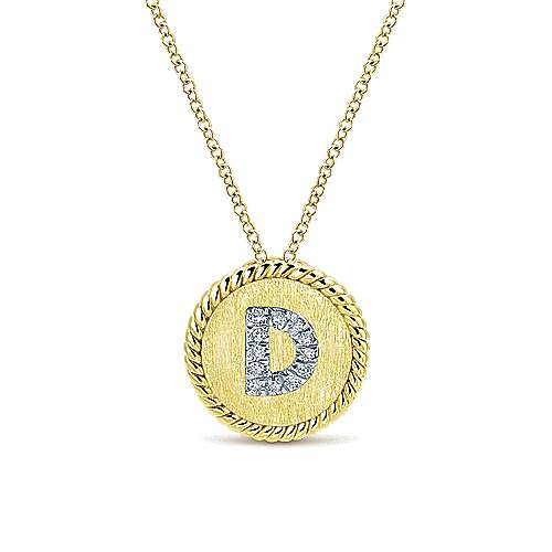 18 inch 14K Yellow White Gold Round Diamond D Initial Pendant Necklace