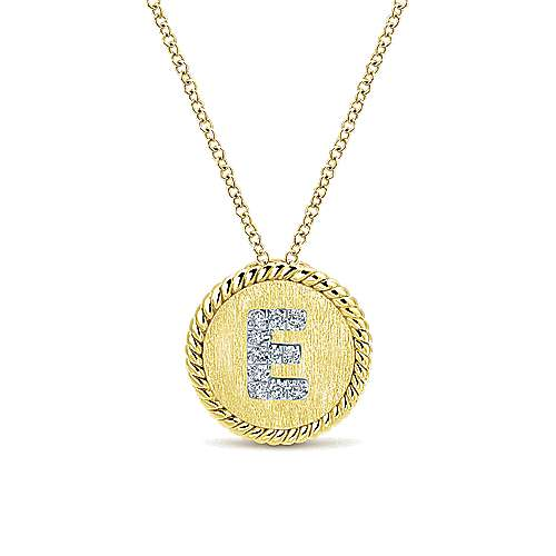 18 inch 14K Yellow White Gold Round Diamond E Initial Pendant Necklace