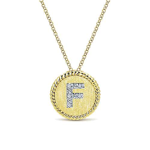 18 inch 14K Yellow White Gold Round Diamond F Initial Pendant Necklace