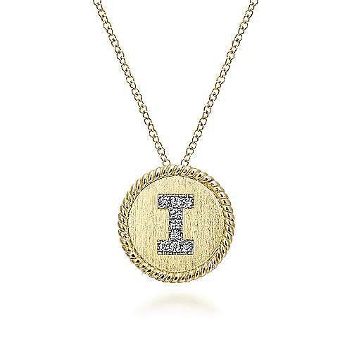 18 inch 14K Yellow White Gold Round Diamond I Initial Pendant Necklace