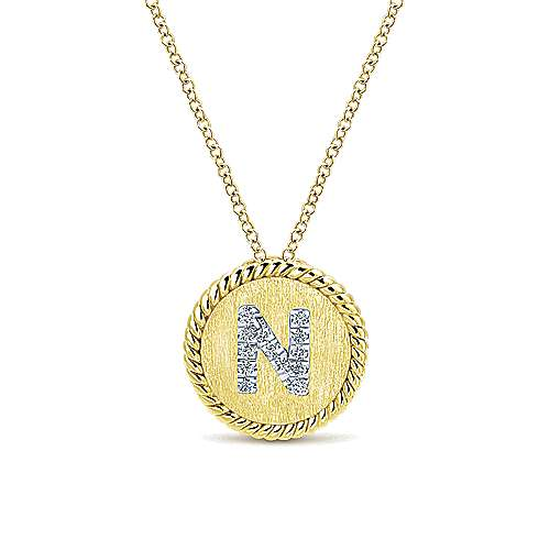 18 inch 14K Yellow White Gold Round Diamond N Initial Pendant Necklace