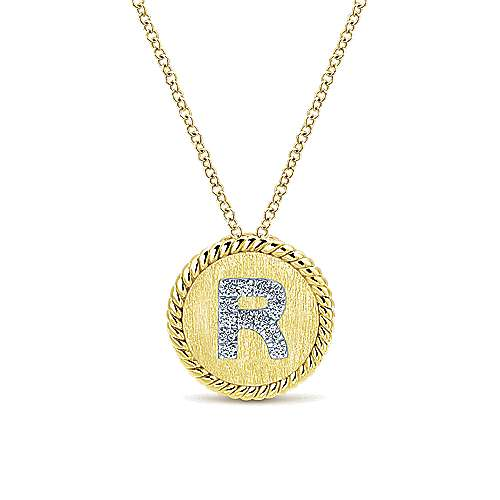 18 inch 14K Yellow White Gold Round Diamond R nitial Pendant Necklace