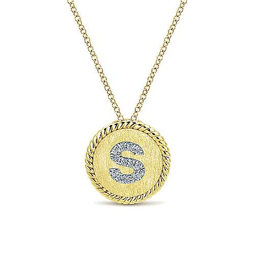 18 inch 14K Yellow White Gold Round Diamond S Initial Pendant Necklace