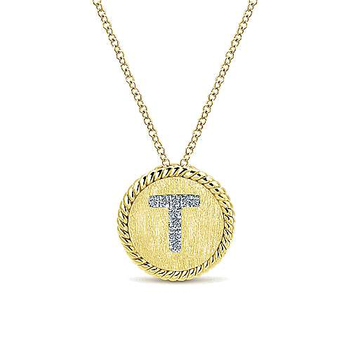 18 inch 14K Yellow White Gold Round Diamond T Initial Pendant Necklace