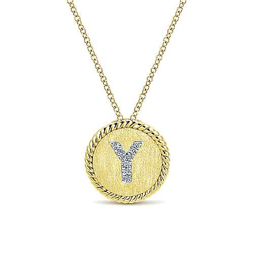 18 inch 14K Yellow White Gold Round Diamond Y Initial Pendant Necklace
