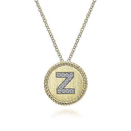 18 inch 14K Yellow White Gold Round Diamond Z Initial Pendant Necklace