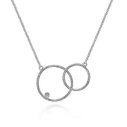18 inch 925 Sterling Silver Double Loop Diamond Pendant Necklace