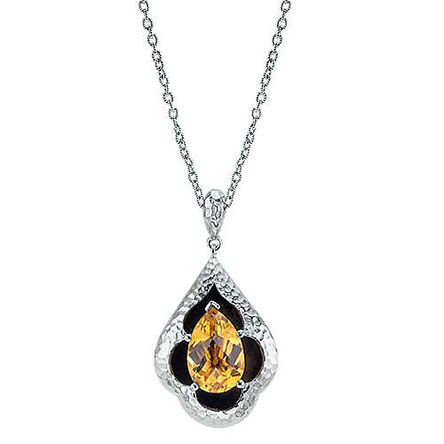18 inch 925 Sterling Silver Hammered Pear Citrine Pendant Necklace