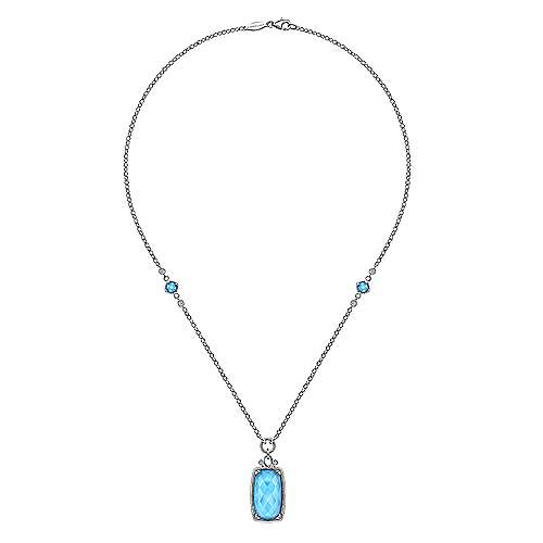 18 inch 925 Sterling Silver Rock Crystal/Turquoise Pendant Necklace with White Sapphire