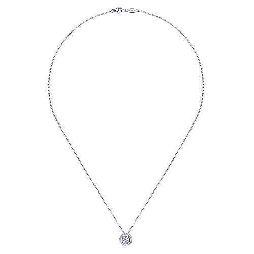 18 inch 925 Sterling Silver Round Diamond Cluster Pendant Necklace