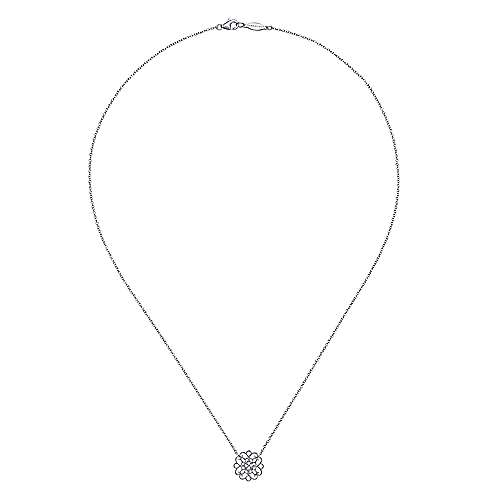 18 inch 925 Sterling Silver Round Filigree White Sapphire Pendant Necklace