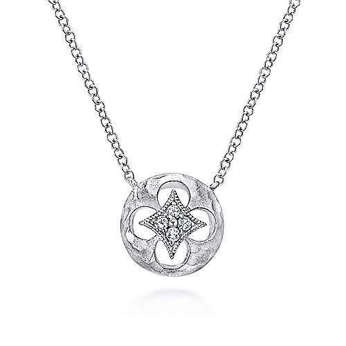 18 inch 925 Sterling Silver Round Quatrefoil Cutout Pendant Necklace with Diamonds