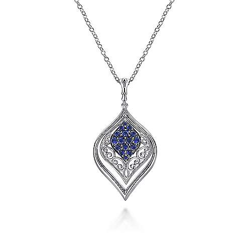 18 inch 925 Sterling Silver Sapphire Marquise Shaped Filigree Pendant Necklace