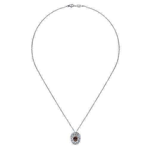 18 inch 925 Sterling Silver Twisted Oval Smoky Quartz Pendant Necklace