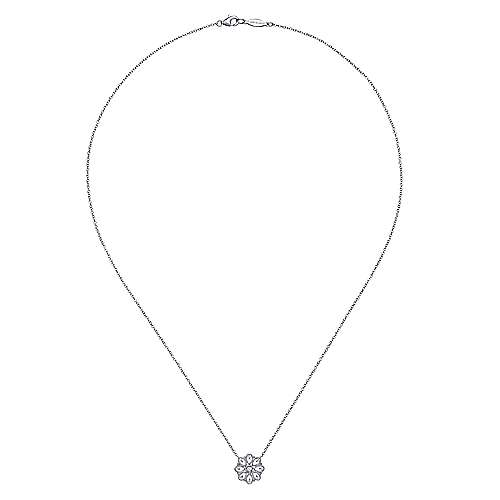 18 inch 925 Sterling Silver White Sapphire Filligree Pendant Necklace